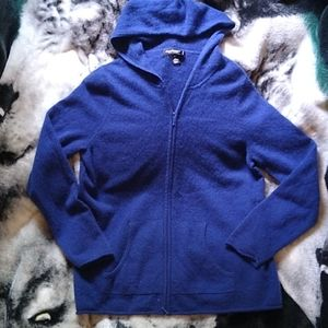 Cashmere Lord & Taylor Hooded Zip Sweater